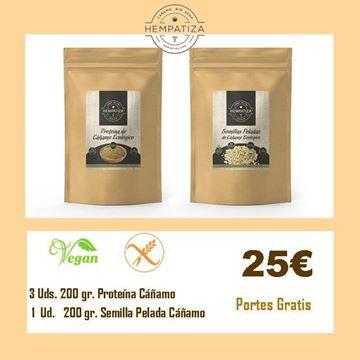 Imagen de Proteína Hempatiza 200 gr. - 3 Uds. y Semilla Pelada 200 gr. 1 Ud.